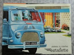 RENAULT ESTAFETTE PLATEAU A RIDELLES  PUBLICITE PROSPECTUS  DEPLIANT POSTER 12 PAGES  31 X 22.5CM - Trucks