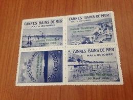 BLOC DE 4-  CANNES Bains De Mer , Journée Philatélique 30 Mars 1930 (port à Ma Charge ) - Erinnofilia