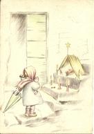 """Cartolina """"Buon Natale"""", Bambina In Preghiera Davanti A Gesù Bambino (S36) - Altri"""