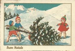 """Cartolina """"Buon Natale"""", Bambini Che Trascinano Un Pino Per Fare L'Albero Di Natale (S37) - Altri"""