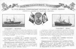 Cie DES MESSAGERIES MARITIMES MULTIVUES PAQUEBOT MEMPHIS ET SINAI - Barche