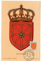 HERALDIQUE = 64 ST JEAN PIED De PORT 1954 = CARTE MAXIMUM  Illustrée D' ARMOIRIES + N° Yvt 1000 NAVARRE - Maximum Cards