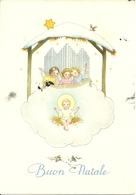 """Cartolina """"Buon Natale"""", Angioletti Sorregono Nube Con Gesù Bambino (S42) - Altri"""