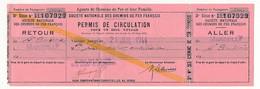 FRANCE - SNCF - Permis De Circulation Pour Un Seul Voyage - 3eme Classe - St Ambroix => Marseille Et Retour 1944 - Railway