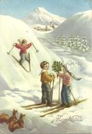 """Cartolina """"Buon Natale"""", Piccoli Sciatori E Scoiattoli (S49) - Altri"""