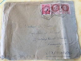 Luxembourg Lettre Avec Bande De Censure Montereau 1942 - 1940-1944 Occupation Allemande