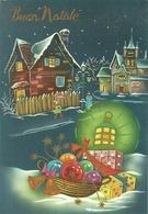 """Cartolina """"Buon Natale"""", Paesaggio Notturno E Cesta Con Regali (S50) - Altri"""