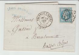 DROME: VALENCE -S-RHONE G.C 4077 + CàD Type 17 / LAC De 1870 > Barcelonnette TB - Poststempel (Briefe)