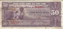 VIETNAM SOUTH 50 DONG 1956 PICK 7a XF - Viêt-Nam