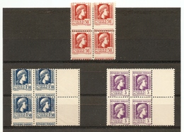 ALGERIE Piquage à Cheval Bloc De 4 Marianne D'ALGER N°211 214 216 ** - Algérie (1924-1962)
