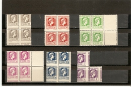 ALGERIE Piquage à Cheval Bloc De 4 Marianne D'ALGER N°209 211 212 213 214 216 ** - Algérie (1924-1962)