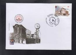 REPUBLIC OF MACEDONIA, 2013, FDC, MICHEL 664 - 50 YEARS EARTHQUAKE IN SKOPJE, POST OFFICE, RAILWAY STATION, CLOCK *** - Physik