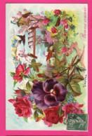 CPA GAUFRÉE (Réf: Z 2391) (FÊTES VŒUX BONNE ANNÉE) Pensée Rose Oiseaux - Anno Nuovo