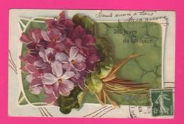 CPA GAUFRÉE (Réf: Z 2393) (FÊTES VŒUX BONNE ANNÉE) Violettes - Anno Nuovo