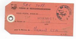 1994 - ETIQUETTE De SAC COLIS POSTAL De MOULINS CT (ALLIER) => CLERMONT CTA - Marcophilie (Lettres)