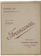PROTEGE-CAHIER OFFERT PAR LE CHOCOLAT FRANCESCA -  FABRICATION FRANCOIS-MEUNIER  (Levallois-Perret)) - Chocolat