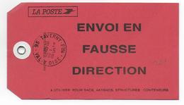 """1998 - ETIQUETTE De SAC COLIS POSTAL """"FAUSSE DIRECTION"""" De TAVERNY (VAL D'OISE) - Marcophilie (Lettres)"""