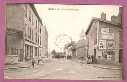 Cpa Luneville Quai De Strasbourg - Belles Pubs Automobile, Bouillon BOL - édit. Paul Ritter- 2 Scans - Luneville