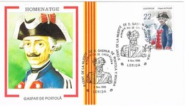 33697. Tarjeta  LLEIDA (Lerida) 1986. Centenario Muerte Gaspar De PORTOLA, Descubridor De California - 1931-Hoy: 2ª República - ... Juan Carlos I
