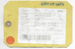 2001 - ETIQUETTE De SAC DEPECHE De ORLY CPA => FORT DE FRANCE (MARTINIQUE) - RARE - Marcophilie (Lettres)