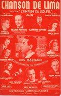 PARTITION CHANSON DE LIMA - DU FILM L'EMPIRE DU SOLEIL - LEGRAND POURCEL LEFEVRE MARIANO - 1957 - EXC ETAT PROCHE NEUF - - Music & Instruments
