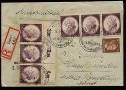 WW II DR Mozart Oberrand 3er Streifen Auf R - Briefumschlag: Gebraucht Mit Sonderstempel Eupen - Hann. Münden 1941 , B - Allemagne