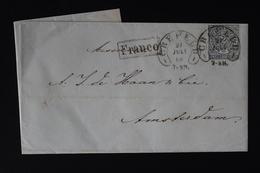 NORDDEUTSCHER BUND : COMPLETE LETTER CREFELD -> AMSTERDAM 1868  MI 8  HUFEISENSTEMPEL - Norddeutscher Postbezirk