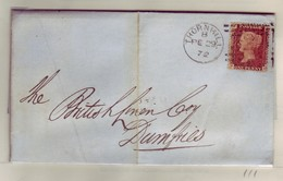 GB QV Scotland Cancel 323 THORNHILL Plate 111, 29 February 1872 To DUMFRIES Lettered KP/PK NICE/Clean - 1840-1901 (Viktoria)