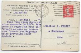 1927 - ROULETTE TYPE SEMEUSE YVERT N° 194 Sur CARTE COMMERCIALE De PARIS - Marcophilie (Lettres)