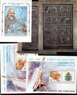 1999 2000 Vaticano Vatican PORTA SANTA E PAPI (x2), PADRE PIO 5 Foglietti MNH** 5 Souv. Sheets - Blokken & Velletjes