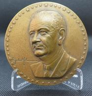 0058 - MEDAILLE VISITE PACIFIQUE DE LYNDON B. JOHNSON EN ASIE 1966 - Bronze RARE - Etats-Unis