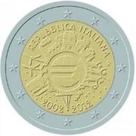Italie 2012     2 Euro Commemo    10 Jaar Euro   UNC Uit De Rol  UNC Du Rouleaux  !! - Italie