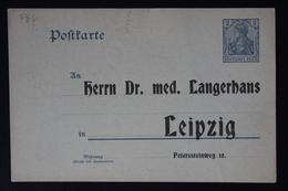 DEUTSCHE REICH: PRIVAT GANZSACHE POSTKARTE HERRN DR MED LANGERHANS LEIPZIG - Allemagne