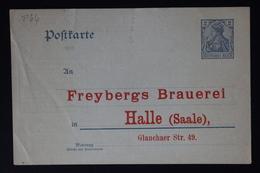 DEUTSCHE REICH: PRIVAT GANZSACHE POSTKARTE FREYBERGS BRAUERREI HALLE - Allemagne