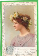 Illustration. Profil Femme Aux Fleurs De Lotus Dans Les Cheveux - Mujeres