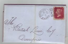 GB QV Scotland Cancel 71 CASTLE DOUGLAS Plate 130, 19 DECEMBER 1871 To DUMFRIES Lettered GK/KG NICE/Clean - 1840-1901 (Victoria)