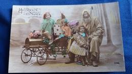 CPA HEUREUX NOEL PERE NOEL UN PEU LOQUETEUX JEUX JOETS POUPEE ENFANTS - Santa Claus