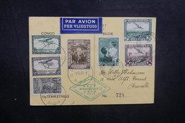 BELGIQUE - Carte De Anvers Pour Bruxelles Via Stanleyville En 1937 Par Avion, Affranchissements Plaisants - L 40471 - Cartas