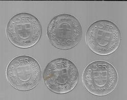 SUISSE LOT DE 6 PIECES DE 5 FRANCS (VOIR ANNéES) - Suiza