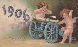 CARTE FANTAISIE .CPA ILLUSTRÉE. LES ANGES TIRENT LE CANON POUR 1906 - Engel