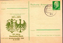 Germany / DDR Cancelled Postal Card, Ulbricht With Deutsches Reich Coat Of Arm And Years 1871-1972 - [6] Repubblica Democratica