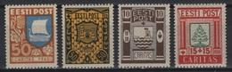 Estonia (1938) Yv. 154/57 / Ships - Tree - Castle - Caritas - Estland