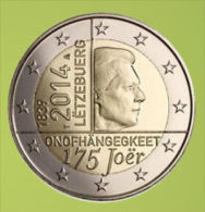 Luxemburg 2014    2 Euro Commemo     Onafhankelijkheid   UNC Uit De Rol  UNC Du Rouleaux  !! - Luxembourg