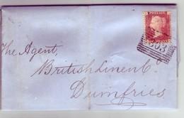 GB QV Scotland Cancel 303 SANQUHAR Plate 136,  To DUMFRIES Lettered AJ/JA NICE/Clean - 1840-1901 (Viktoria)