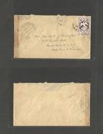 FRC - AEF. 1943. Bangui - USA, Forest Hills, LINY. Single Franked 4fr Env + Censor Label. Fine. - Francia (antiguas Colonias Y Protectorados)