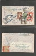"PERU. 1940 (12 Febr) Ica - Switzerland, Riehen (24 Feb) Registered Air Mutifkd Env + ""No Contiene Billetes"" Control Cach - Peru"