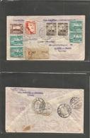 PERU. 1940 (July) Choeica - Switzerland, Riehen (5 Aug) Via Lima - USA. Registered Multifkd PANAGRA - North Atlantic Rou - Peru