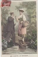"""CARTE FANTAISIE. CPA .. COUPLE. 3 CARTES POUR """" POUR LE COÛT D'UN BAISER """". .ANNEE 1909 + TEXTE - Couples"""