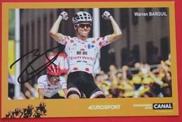 Cyclisme : Tour De France , Warren Barguil , Maillot A Pois Avec Dédicace - Cyclisme