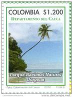 Lote 19p6, Colombia, 2012, Cauca, Sello, Stamp, Parque Nacional Gorgona, Mar, Sea, National Park - Colombia